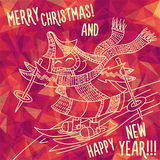 Greeting polygonal card: Merry Christmas and New Year. Christmas greeting card: Merry Christmas and Happy New Year. Christmas tree in childish doodles style Stock Photography