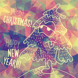 Greeting polygonal card: Merry Christmas and New Year. Christmas greeting card: Merry Christmas and Happy New Year. Christmas tree in childish doodles style Stock Image