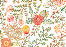 Flowers and leaves pattern. Postcard with flowers and plants royalty free illustration