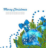 Greeting Postcard with Christmas Balls Royalty Free Stock Photos