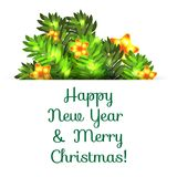 Greeting postcard with Christmas and New Year. Stock Image