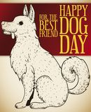 Dog in Hand Drawn Style and Greetings for Dog Day, Vector Illustration Royalty Free Stock Photos