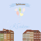 Greeting postcard from Krakow. Greeting postcard with vintage buildings from Krakow Vector Illustration