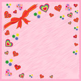 Greeting postcard on pink Royalty Free Stock Image