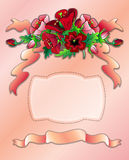 Greeting postcard with red poppies. Decorative framecomposition consisting of red and pink poppies vector illustration