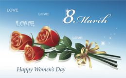 March 8 Happy Women`s day. Greeting postcard with a red roses for women. Vector illustration Stock Image