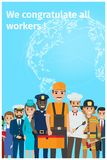 We Congratulate All Workers Greeting Postcard Royalty Free Stock Image