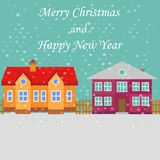 Greeting poster with snowy street. Merry Christmas stock illustration