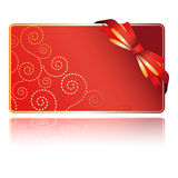 Greeting red card with bow Stock Photography