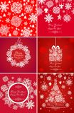 Greeting red cards for xmas holidays with paper snowflakes Stock Photography