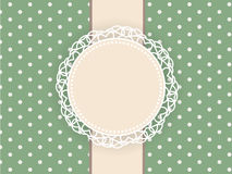 Greeting retro background with frame and polka dots. Invitation card Royalty Free Stock Photos