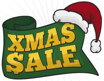 Greeting Ribbon and Santa`s Hat Announcing Christmas Sales, Vector Illustration stock illustration