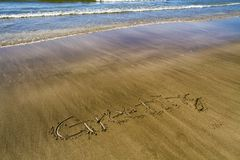 Greeting on the sand Royalty Free Stock Photography