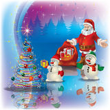 Greeting with Santa Claus and Christmas tree Stock Photography
