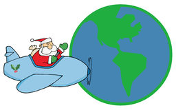Greeting with santa flying around earth Stock Photos