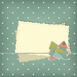 Greeting scrap retro background. With empty photo blank and christmas tree royalty free illustration
