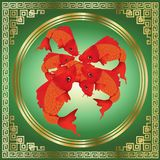 Greeting season with beautiful red Koi carps on gold and green background Stock Photography