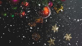 Greeting Season concept.hand setting of ornaments on a Christmas Stock Photo