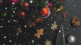 Greeting Season concept.hand setting of ornaments on a Christmas Stock Photography
