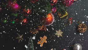 Greeting Season concept.hand setting of ornaments on a Christmas Stock Image