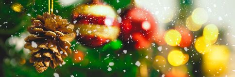 Greeting Season concept.wide shot of ornaments on a Christmas tr Royalty Free Stock Photo