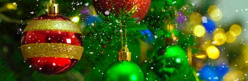 Greeting Season concept.wide shot of ornaments on a Christmas tr Stock Images