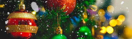 Greeting Season concept.wide shot of ornaments on a Christmas tr Stock Image
