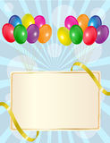 Greeting sign with balloons Royalty Free Stock Photography