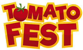 Greeting Sign with Glossy Text for Tomato Festival, Vector Illustration. Banner with a fresh tomato, a red and golden greeting sign for Tomato Fest  over white Stock Photo