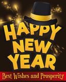 Greeting Sign with Hat over Fireworks for New Year`s Party, Vector Illustration Stock Image