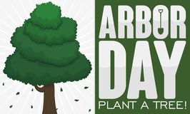 Greeting Sign with Tree to Celebrate Arbor Day, Vector Illustration. Greeting sign with a slim, tall tree and greeting sign decorated  with a shovel promoting royalty free illustration