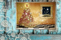 Greeting the spirit of Christmas Stock Images