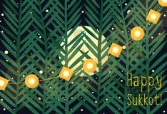 Greeting for Sukkot. Illustrative greeting for Sukkot - jewish autumn holiday Stock Images
