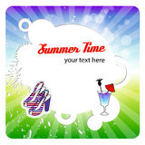 Greeting summer card with round frame Royalty Free Stock Photos