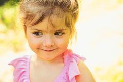 Greeting summer. Springtime. weather forecast. Small child. Natural beauty. Childrens day. face and skincare. allergy to royalty free stock images