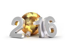 2016 Greeting symbol. 3D New Year 2016 concept with planet earth in a gold christmas ball Stock Images