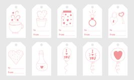Greeting tags with cute hand drawn elements for Valentine`s Day Stock Images