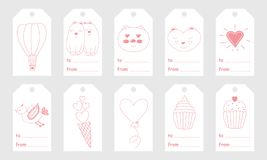 Greeting tags with cute hand drawn elements for Valentine`s Day Stock Image