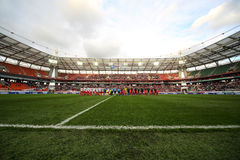 Greeting teams on game Russian team against Northern Ireland Royalty Free Stock Image