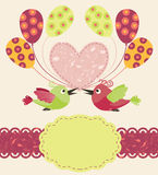 Greeting template with birds stock illustration