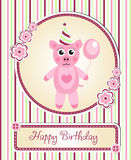 Greeting template cute children's birthday party, cartoon pig Royalty Free Stock Images