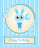 Greeting template cute children's birthday, rabbit, bunny, blue for a boy Stock Photography