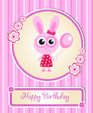 Greeting template cute children's birthday, rabbit, bunny, pink for girls Stock Photo