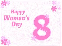 Greeting tender card with decor happy womens day 8 march. Greeting tender card with pink decor happy womens day 8 march royalty free illustration