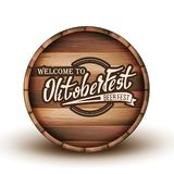 Greeting Text Invitation On Wooden Barrel Vector. Engraving Welcome To Oktoberfast Calligraphy Letters On Brown Barrel. Promotion Of Beer Greatest Festival stock illustration