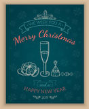 Greeting text and sketch decorations. Stock Image
