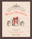 Greeting text and sketch decorations. Stock Photo