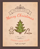 Greeting text and sketch decorations. Royalty Free Stock Image