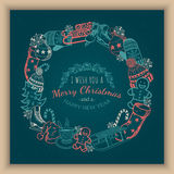 Greeting text and sketch decorations. Royalty Free Stock Photography