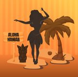 Greeting for tourists and guests of the island of Hawaii. Beautiful Hawaiian girl on beach, under palm trees poster greeting card with tropical labeled Aloha vector illustration